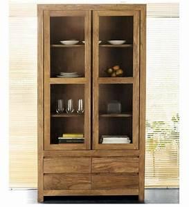 Cinnamon Glass Door Crockery Cabinet by Mudramark Online
