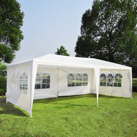 outsunny    gazebo canopy party tent   removable window side walls white walmartcom