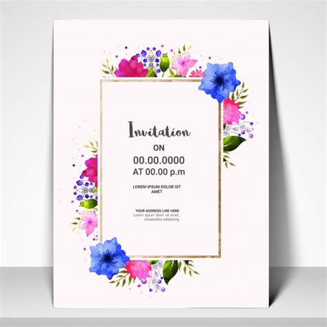 invitation card template with colorful flowers vector premium