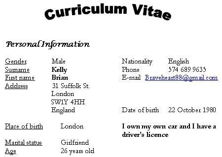 curriculum vitae curriculum vitae italicized