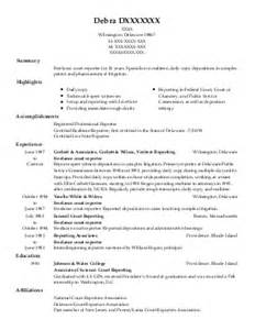 new court reporter resume delaware court reporting resume exles find the best court reporting resume sles livecareer