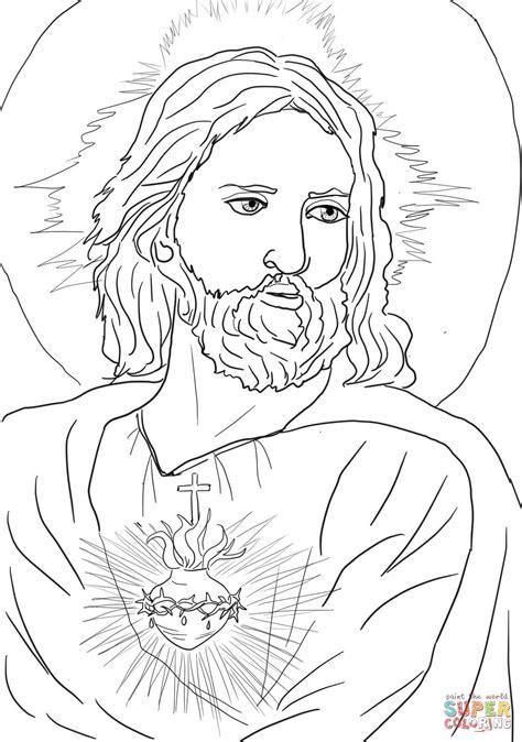 sacred heart  jesus coloring page  printable