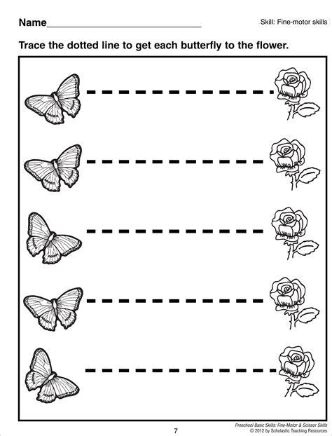 tracing horizontal lines preschool basic skills motor