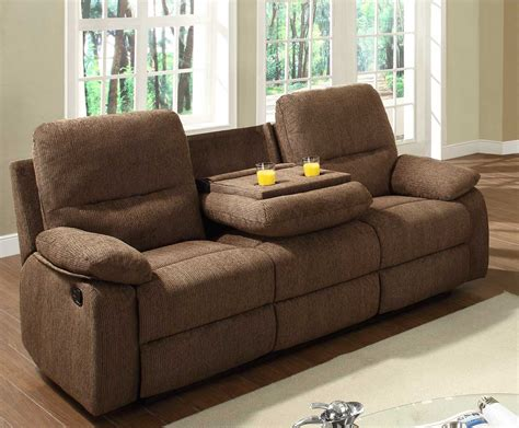 brown fabric recliner sofa double reclining sofa with cup holder set and console