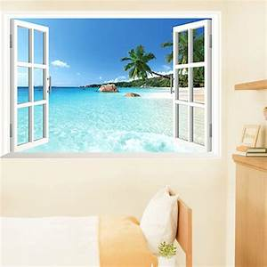 Beach d window view removable wall art sticker vinyl