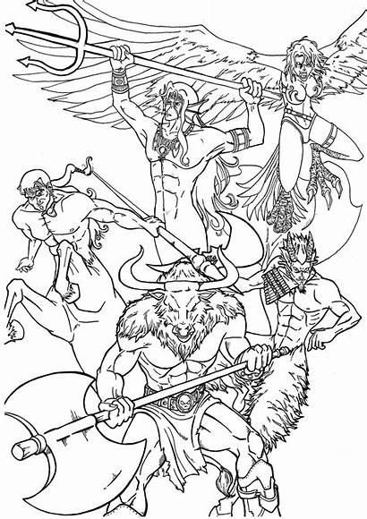 Greek Mythology Coloring Mythical Adults Poseidon Gods