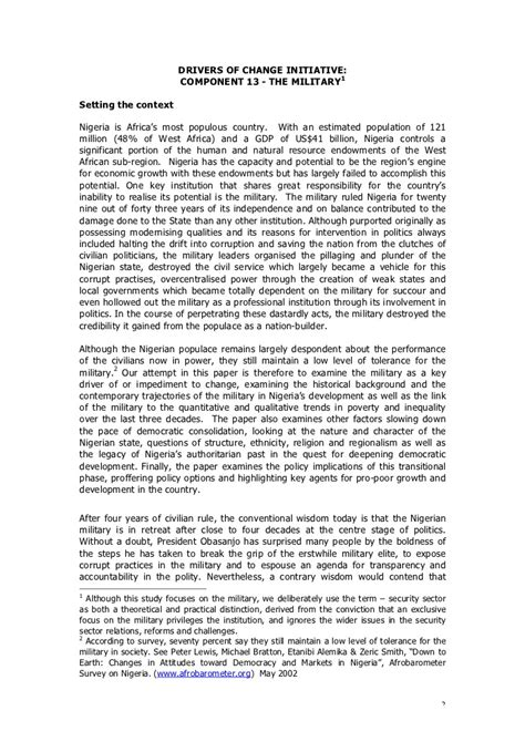 nigeria position paper   military