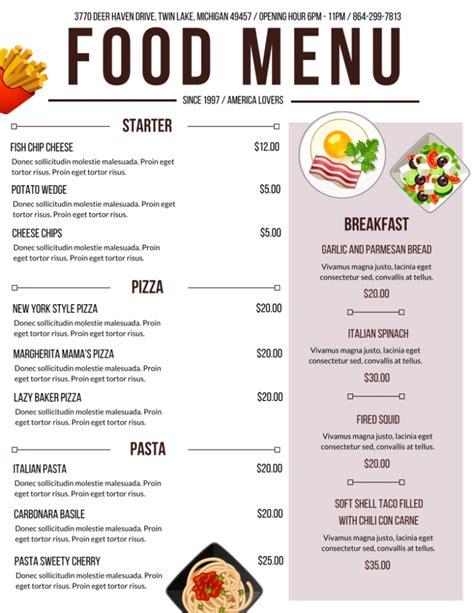cuisine menu white purple meal food drink menu