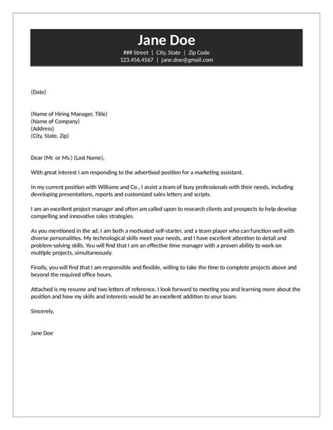Entry Level Marketing Manager Cover Letter by Marketing Assistant Cover Letter