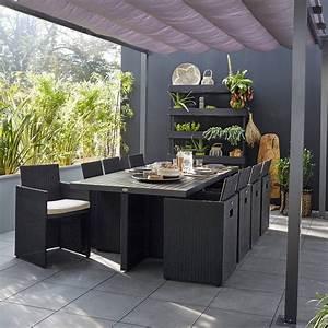 Salon De Jardin En Rotin Leroy Merlin : salon de jardin encastrable r sine tress e noir 8 ~ Premium-room.com Idées de Décoration