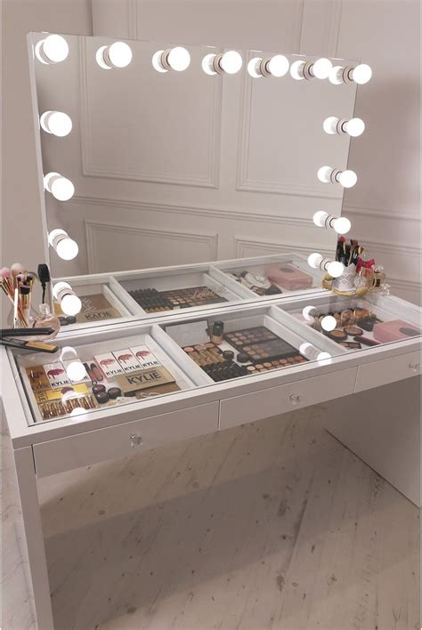 white desk with mirror and lights crisp white finish slaystation make up vanity with premium