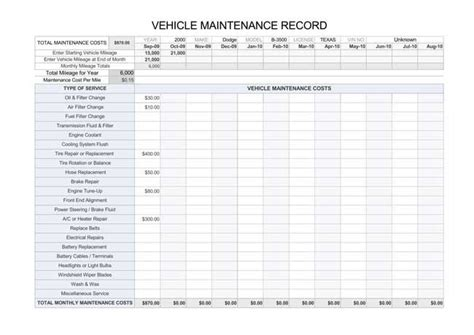 printable vehicle maintenance log templates
