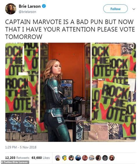 brie larson vote brie larson uses bad pun of captain marvote as oscar