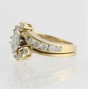 diamond wedding set 100ctw 14k gold marquise round With wedding ring wrap set