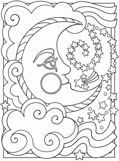 Moon Sun Trippy Clipart Coloring Stars Clipground