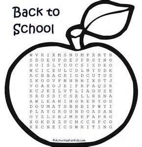 Back to School Word Search Printable for Kids