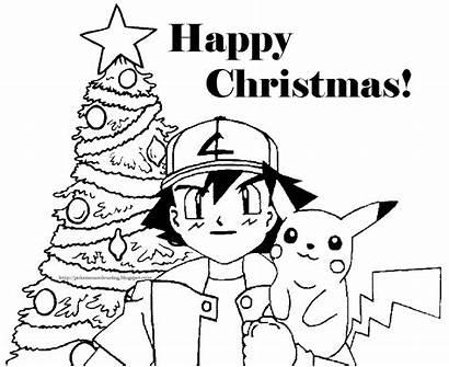 Pokemon Coloring Christmas Pikachu Pages Ash Theme