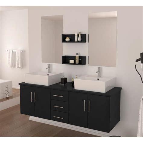 salle de bain 2 vasques salle de bain compl 232 te vasque 150 cm laqu 233 noir brillant achat vente salle de
