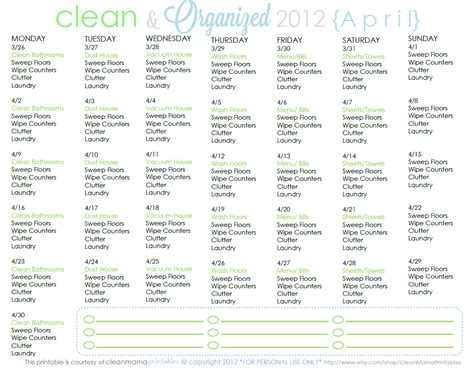 House Cleaning Working Mom House Cleaning Schedule