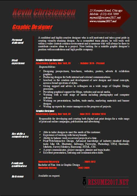 graphic designer resume exles 2017