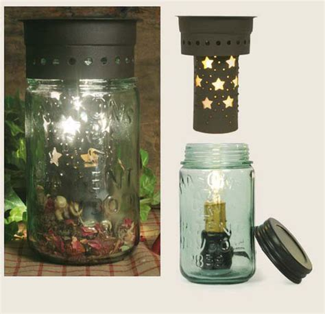 Mason Jar Lamp or Wax Warmer Kit Punched Stars