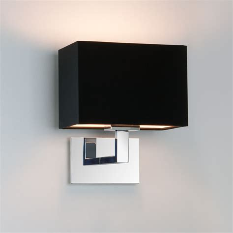connaught polished chrome wall light with black fabric