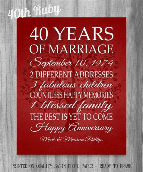 40th anniversary gift art sale gift for parents or