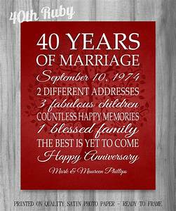 40th anniversary gift art sale gift for parents or With gift for 40 wedding anniversary