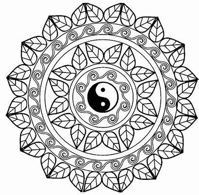 Mandala Yang Yin Coloring Mandalas Pages Adult
