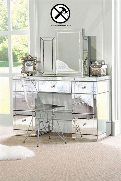 mirrored vanity table valeria toughened mirrored dressing table 7 drawer 4167