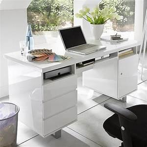 Computertisch Weiß Hochglanz : schreibtisch arbeitstisch computertisch mit 2 containern in hochglanz wei lack ebay ~ Frokenaadalensverden.com Haus und Dekorationen