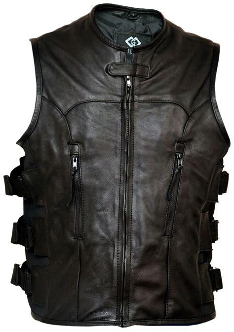 Cowhide Leather Vest by Premium Cowhide Leather Motorcycle Biker Vest
