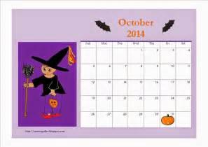 Kids Halloween October 2014 Calendar Printable