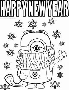 New Year 2019 Coloring Page Cartoon