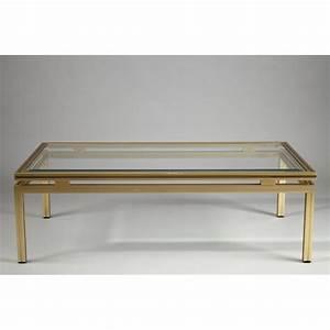 Table En Verre Rectangulaire : table basse rectangulaire en verre et laiton pierre vandel 1980 design market ~ Teatrodelosmanantiales.com Idées de Décoration