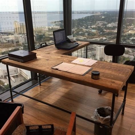 luxury offices beautifully reclaimed wooden desks