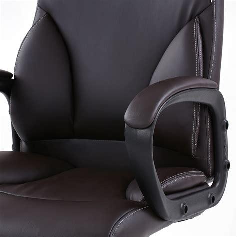 chaise de bureau en cuir fauteuil de bureau pivotant en simili cuir brun