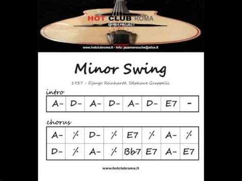 django reinhardt minor swing django reinhardt grilles chords minor swing
