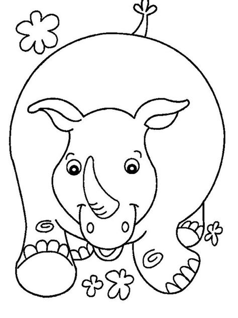 Rhino Coloring Pages. Rhinoceros are large mammals with