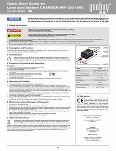 Quick Start Guide For Lead Acid Battery Charger Mw 126