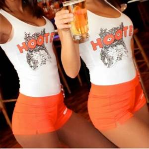 Hooters Shorts One Left Hooters Girl Orange Shorts