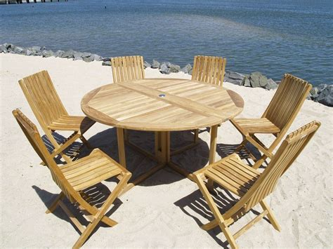 teak outdoor dining table and six chairs teak outdoor
