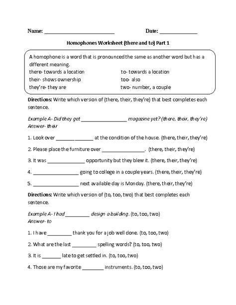 homophones worksheet english grammar