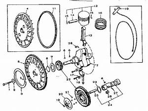 Crankshaft  Flywheel  Camshaft And Piston Group Diagram  U0026 Parts List For Model 62720191