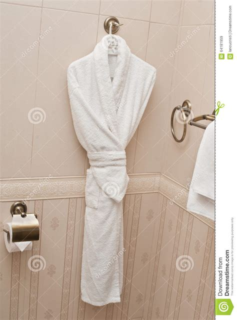 Where To Hang Towels In Small Bathroom by White Fresh Bath Robe Hang On Bathroom Wall White Shower