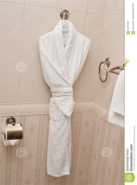 Towels Hanging In Bathroom Stock White Fresh Bath Robe Hang On Bathroom Wall White Shower