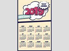 Cartoon styles 2019 calendar template vectors 04 free download