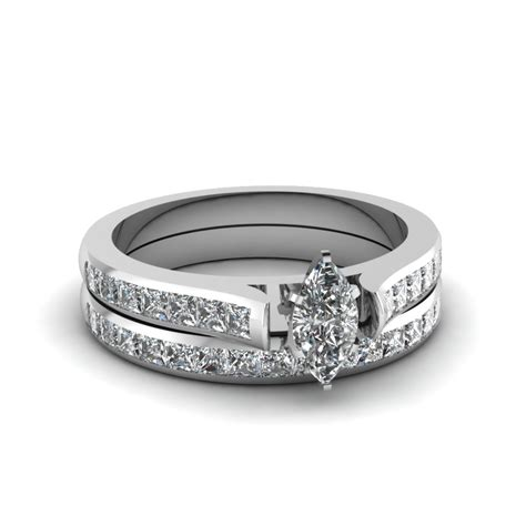 marquise wedding set marquise shaped wedding sets with ruby in 14k white gold unique wedding band sets