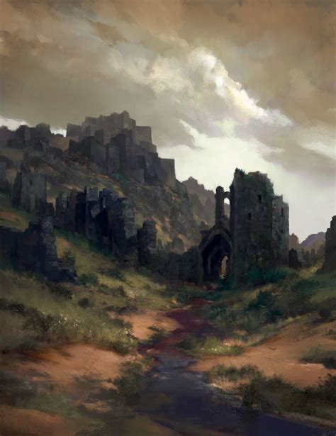 black fortress ruins tomas duchek  artstation  https