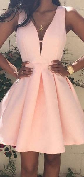 A-Line Deep V-Neck Sleeveless Pearl Pink Homecoming ...